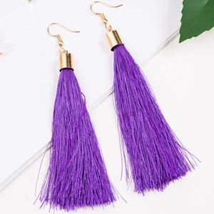 Long Purple Tassel Earrings with Gold Hardware